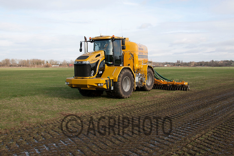 Contactors A & R Cramphorn injecting cow slurry to grass land on a dairy farm near Peterborough,.Cambridgeshire..Picture by Tim Scrivener date taken 9th March 2012.mobile 07850 303986 e-mail tim@agriphoto.com.....covering agriculture in The United Kingdom....