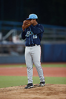 Wilmington Blue Rocks starting pitcher Alfonso Hernandez (15) looks to his catcher for the sign against the Hudson Valley Renegades at Dutchess Stadium on July 27, 2021 in Wappingers Falls, New York. (Brian Westerholt/Four Seam Images)
