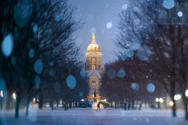 February 8, 2021; Main Quad in snow (Photo by Matt Cashore/University of Notre Dame)