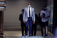 CHAPEL HILL, NC - APRIL 6: UNC men's basketball head coach Hubert Davis enters the court prior to his introductory press conference at Dean E. Smith Center on April 6, 2021 in Chapel Hill, North Carolina.