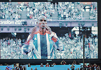 August 05, 2012: Screen grab of Mohamed Farah of GBR during award ceremony for men's 10000m at the Olympic Stadium on day nine of 2012 Olympic Games in London, United Kingdom.