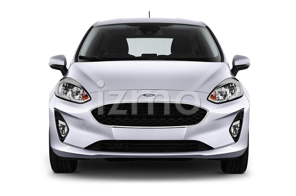 Car photography straight front view of a 2017 Ford Fiesta Business-Class 5 Door Hatchback Front View