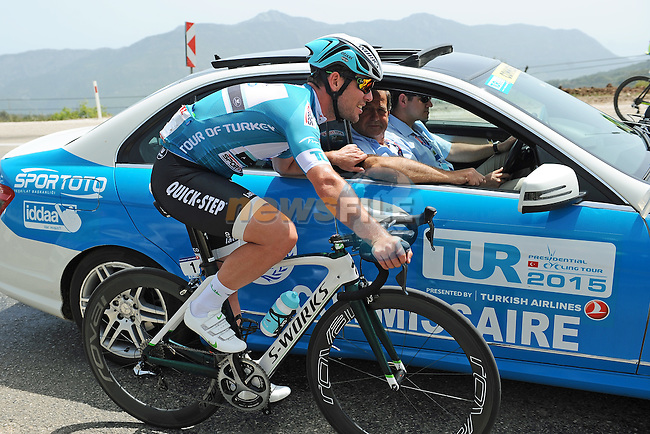 Mark Cavendish (GBR) Etixx-Quick Step chats with the commisaires as they ride through the Taurus Mountains during Stage 3 of the 2015 Presidential Tour of Turkey running 165.3km from Kemer to Elmali. 28th April 2015.<br /> Photo: Tour of Turkey/Mario Stiehl/www.newsfile.ie