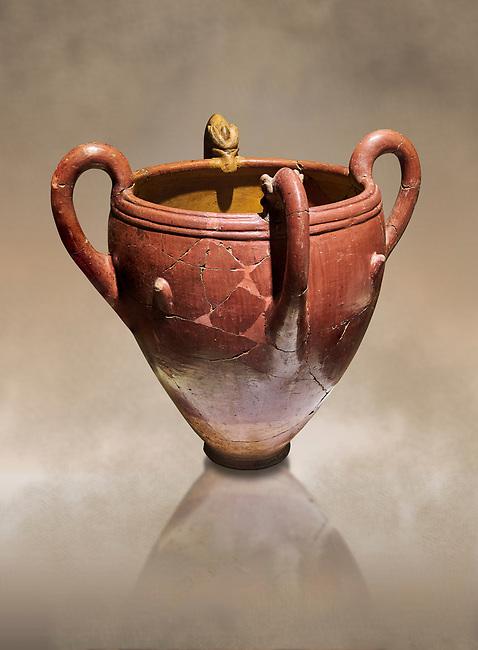 Bronze Age Anatolian four handled terra cotta vase with reliefs - 19th - 17th century BC - Kültepe Kanesh - Museum of Anatolian Civilisations, Ankara, Turkey.  Against a warn art background.
