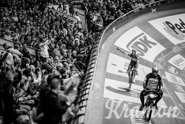 victory for Iljo Keisse (BEL/Deceuninck-QuickStep) in the derny race<br /> <br /> Lotto 6daagse Vlaanderen-Gent 2018 / Gent6<br /> day 5