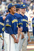 Michigan Wolverines pitcher Isaiah Paige (25) before Game 3 of the NCAA College World Series Finals on June 26, 2019 at TD Ameritrade Park in Omaha, Nebraska. Vanderbilt defeated Michigan 8-2 to win the National Championship. (Andrew Woolley/Four Seam Images)