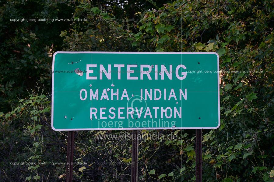 USA, Nebraska, Omaha Reservation, Omaha Indianer, Eingang zur Reservation