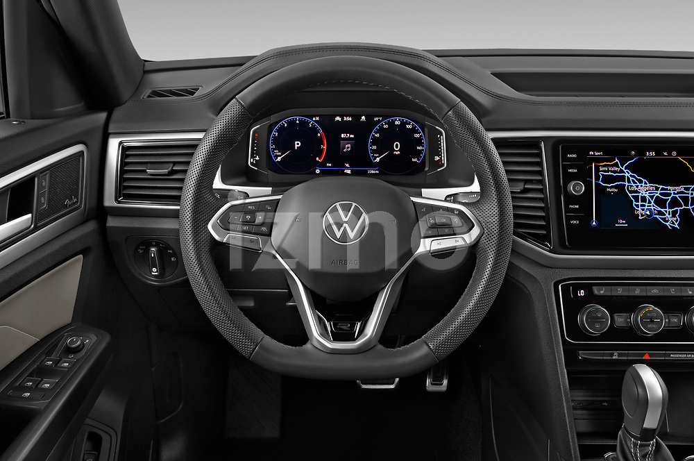 Car pictures of steering wheel view of a 2021 Volkswagen Atlas-Cross-Sport SEL-R-Line 5 Door SUV Steering Wheel