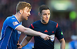 Aberdeen v St Johnstone…27.02.16   SPFL   Pittodrie, Aberdeen<br />Liam Craig has words with Referee Steven McLean over the position of a free kick<br />Picture by Graeme Hart.<br />Copyright Perthshire Picture Agency<br />Tel: 01738 623350  Mobile: 07990 594431