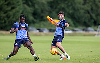 Aaron Pierre & Joe Jacobson (right) during the Wycombe Wanderers 2016/17 Pre Season Training Session at Wycombe Training Ground, High Wycombe, England on 1 July 2016. Photo by Andy Rowland.