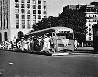 Streamline street car, 1935.<br /> <br /> Photo by Harris & Ewing