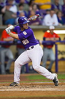 LSU Tigers designated hitter Chris Chinea #20 at bat against the Auburn Tigers in the NCAA baseball game on March 23, 2013 at Alex Box Stadium in Baton Rouge, Louisiana. LSU defeated Auburn 5-1. (Andrew Woolley/Four Seam Images).