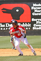 Yonder Alonzo #19 of the Carolina Mudcats leading off 2nd base during a game against the Chattanooga Lookouts on on May 9, 2010 in Zebulon, NC.