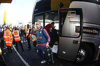 Jonjo Shelvey of Swansea arrives at todays match   during the Barclays Premier League match Watford and Swansea   played at Vicarage Road Stadium , Watford