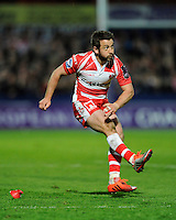 Greig Laidlaw of Gloucester Rugby watches his penalty kick attempt during the European Rugby Challenge Cup semi final match between Gloucester Rugby and Exeter Chiefs at Kingsholm Stadium on Saturday 18th April 2015 (Photo by Rob Munro)