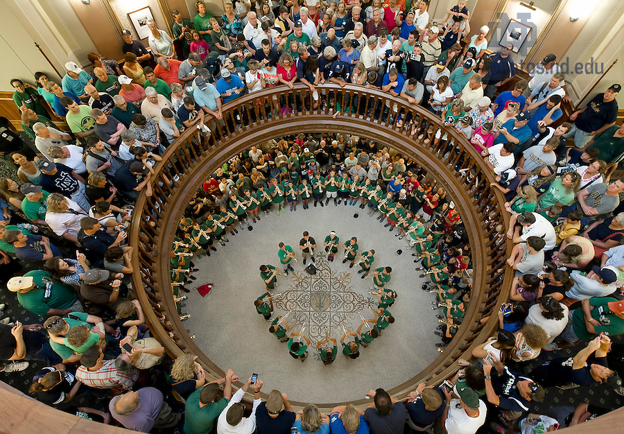 Aug. 30, 2013; Fans gather to watch trumpet players from the Notre Dame Band perform in the Main Building Rotunda on Friday before Notre Dame's game against Temple. Photo by Barbara Johnston/University of Notre Dame
