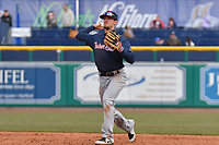 Cavan Biggio (6) of the New Hampshire Fisher Cats throws to first base between innings during a game against the Hartford Yard Goats at Dunkin Donuts Park on April 8, 2018 in Hartford, Connecticut.<br /> (Gregory Vasil/Four Seam Images)