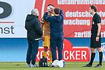 20.02.2021, xtgx, Fussball 3. Liga, FC Hansa Rostock - SV Waldhof Mannheim, v.l. Gerrit Gohlke (Mannheim, 27) verletzt, Verletzung<br /> <br /> (DFL/DFB REGULATIONS PROHIBIT ANY USE OF PHOTOGRAPHS as IMAGE SEQUENCES and/or QUASI-VIDEO)<br /> <br /> Foto © PIX-Sportfotos *** Foto ist honorarpflichtig! *** Auf Anfrage in hoeherer Qualitaet/Aufloesung. Belegexemplar erbeten. Veroeffentlichung ausschliesslich fuer journalistisch-publizistische Zwecke. For editorial use only.