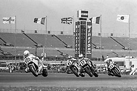 Peter Rubato, #605 Suzuki, leads Jimmy Felice, #17 Yamaha, Wayne Rainey, #6 Honda, and Jeff Heino, #64 Suzuki, Daytona 200, AMA Superbikes, Daytona International Speedway, Daytona Beach, FL, March 9, 1986.(Photo by Brian Cleary/bcpix.com)