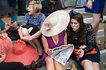 Royal Ascot horse racing, Berkshire. Lady reading the running form. 2012