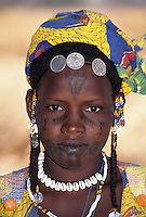 Delaquara, Niger - Fulani Girl with Facial Tattoos, Jewelry, Cowrie Shells
