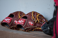 Baseball gloves sit on the bench of the North Carolina State Wolfpack dugout during the game against the Charlotte 49ers at BB&T Ballpark on March 31, 2015 in Charlotte, North Carolina.  The Wolfpack defeated the 49ers 10-6.  (Brian Westerholt/Four Seam Images)