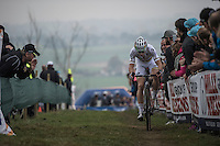 World Champion Wout Van Aert (BEL/Crelan-Vastgoedservice) making a one-man-show out of this race<br /> <br /> 25th Koppenbergcross 2016