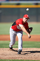 Cincinnati Reds minor league pitcher Luke Moran #62 during an instructional league game against the Cleveland Indians at the Goodyear Training Complex on October 8, 2012 in Goodyear, Arizona.  (Mike Janes/Four Seam Images)
