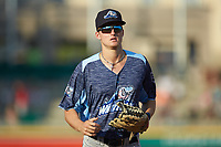 West Michigan Whitecaps center fielder Parker Meadows (18) jogs off the field between innings of the game against the Fort Wayne TinCaps at Parkview Field on August 5, 2019 in Fort Wayne, Indiana. The TinCaps defeated the Whitecaps 9-3. (Brian Westerholt/Four Seam Images)