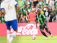 AUSTIN, TX - JUNE 19: Kekuta Manneh #23 of Austin FC brings the ball up the field during a game between San Jose Earthquakes and Austin FC at Q2 Stadium on June 19, 2021 in Austin, Texas.