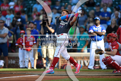 Will Banfield (11) of Brookwood High School in Lawrenceville, Georgia during the Under Armour All-American Game presented by Baseball Factory on July 29, 2017 at Wrigley Field in Chicago, Illinois.  (Mike Janes/Four Seam Images)