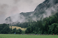 peloton moving through the valley<br /> <br /> Stage 4: Gansingen > Gstaad (189km)<br /> 82nd Tour de Suisse 2018 (2.UWT)