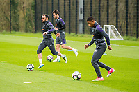 Thursday  20 April 2017<br /> Pictured L-R: Leon Britton, Jordi Amat and Luciano Narsingh  <br /> Re: Swansea City FC training session at the Fairwood training ground, Swansea, Wales, UK