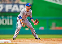 28 July 2013: New York Mets infielder Josh Satin in action against the Washington Nationals at Nationals Park in Washington, DC. The Nationals defeated the Mets 14-1. Mandatory Credit: Ed Wolfstein Photo *** RAW (NEF) Image File Available ***