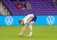 ORLANDO, FL - JANUARY 18: Samantha Mewis #3 of the USWNT sets a ball for a penalty kick during a game between Colombia and USWNT at Exploria Stadium on January 18, 2021 in Orlando, Florida.