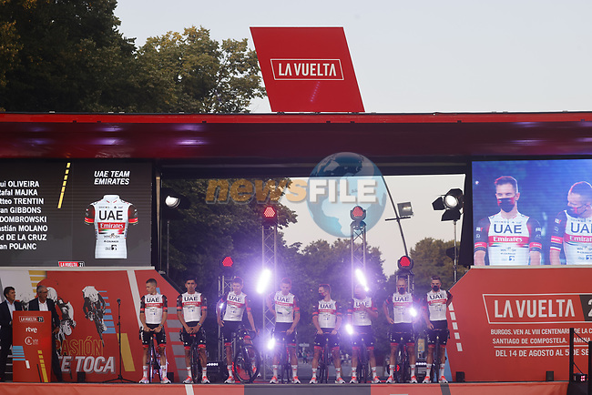 UAE Team Emirates on stage at the Team Presentation before La Vuelta d'Espana 2021 held in Burgos city centre, Spain. 12th August 2021.    <br /> Picture: Luis Angel Gomez/Photogomezsport | Cyclefile<br /> <br /> All photos usage must carry mandatory copyright credit (© Cyclefile | Luis Angel Gomez/Photogomezsport)