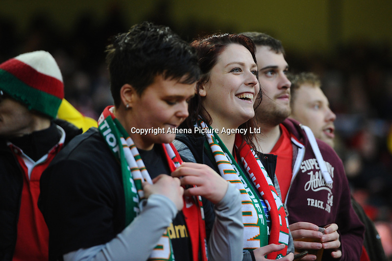 Pictured: Welsh Fans in action during the Guinness six nations match between Wales and Ireland at the Principality Stadium, Cardiff, Wales, UK.<br /> Saturday 16 March 2019