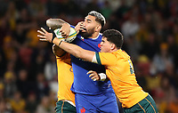 17th July 2021; Brisbane, Australia;  France's Romain Taofifenua is tackled during the Australia versus France, 3rd Rugby Test at Suncorp Stadium, Brisbane, Australia on Saturday 17th July 2021.