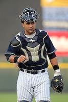 Empire State Yankees catcher Gustavo Molina #55 during the second game of a double header against the Columbus Clippers at Frontier Field on May 8, 2012 in Rochester, New York.  Empire State defeated Columbus 4-3.  (Mike Janes/Four Seam Images)