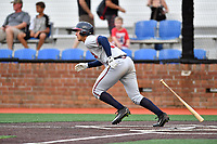 Danville Braves third baseman Drew Lugbauer (38) swings at a pitch during a game against the  Johnson City Cardinals at TVA Credit Union Ballpark on July 23, 2017 in Johnson City, Tennessee. The Cardinals defeated the Braves 8-5. (Tony Farlow/Four Seam Images)