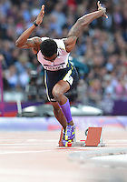August 05, 2012..Tabarie Henry competes in Men's 400m Semifinal at the Olympic Stadium on day nine of 2012 Olympic Games in London, United Kingdom.