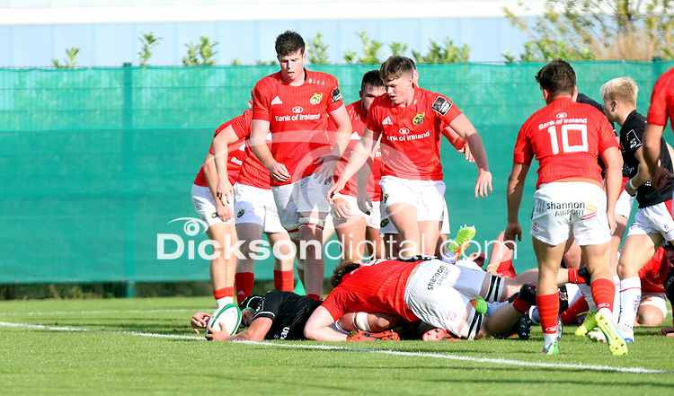 Saturday 18th September 2021<br /> <br /> Ruben Crothers scores during the Development A Interprovincial game Ulster A and Munster A at the IRFU High Performance Centre, Dublin, Ireland. Photo by John Dickson/Dicksondigital