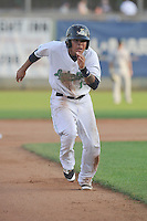 Clinton LumberKings Rayder Ascanio (13) runs to third base during the Midwest League game against the Beloit Snappers at Ashford University Field on June 11, 2016 in Clinton, Iowa.  The LumberKings won 7-6.  (Dennis Hubbard/Four Seam Images)