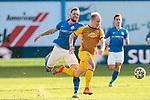 20.02.2021, xtgx, Fussball 3. Liga, FC Hansa Rostock - SV Waldhof Mannheim, v.l. Jan Loehmannsroeben (Hansa Rostock, 24), Dennis Jastrzembski (Mannheim) Zweikampf, Duell, Kampf, tackle <br /> <br /> (DFL/DFB REGULATIONS PROHIBIT ANY USE OF PHOTOGRAPHS as IMAGE SEQUENCES and/or QUASI-VIDEO)<br /> <br /> Foto © PIX-Sportfotos *** Foto ist honorarpflichtig! *** Auf Anfrage in hoeherer Qualitaet/Aufloesung. Belegexemplar erbeten. Veroeffentlichung ausschliesslich fuer journalistisch-publizistische Zwecke. For editorial use only.