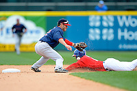 Pawtucket Red Sox second baseman Jonathan Diaz #2 knocks down a throw in the dirt as Anthony Gose #8 steals second during the second game of a doubleheader against the Buffalo Bisons on April 25, 2013 at Coca-Cola Field in Buffalo, New York.  Buffalo defeated Pawtucket 4-0.  (Mike Janes/Four Seam Images)