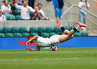 10th July 2021; Twickenham, London, England; International Rugby Union England versus Canada; Henry Slade of England unable to control his dive in attempt to score