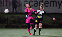 Yasaman Farmani (6 Charleroi) pictured in a duel with Aalst's Tiana Andries during a female soccer game between Sporting Charleroi and Eendracht Aalst on the 8th  matchday of the 2020 - 2021 season of Belgian Scooore Womens Super League , friday 20 th of November 2020  in Marcinelle , Belgium . PHOTO SPORTPIX.BE | SPP | DAVID CATRY