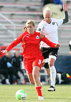 Allie Long #9 of the Washington Freedom pulls away from Caroline Seger #9 of the Philadelphia Independence during a WPS pre season match at the Maryland Soccerplex on March 27 2010 in Boyds, Maryland. The game ended in a 0-0 tie.
