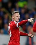 Belgie, Brugge, 26 augustus 2015<br /> Champions League play-offs<br /> Seizoen 2015-2016<br /> Club Brugge-Manchester United<br /> Wayne Rooney van Manchester United juicht als hij voor de derde keer heeft gescoord