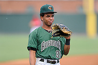 Center fielder Cristian Paulino (31) of the Augusta GreenJackets before a game against the Greenville Drive on Friday, July 11, 2014, at Fluor Field at the West End in Greenville, South Carolina. Greenville won, 7-6. (Tom Priddy/Four Seam Images)